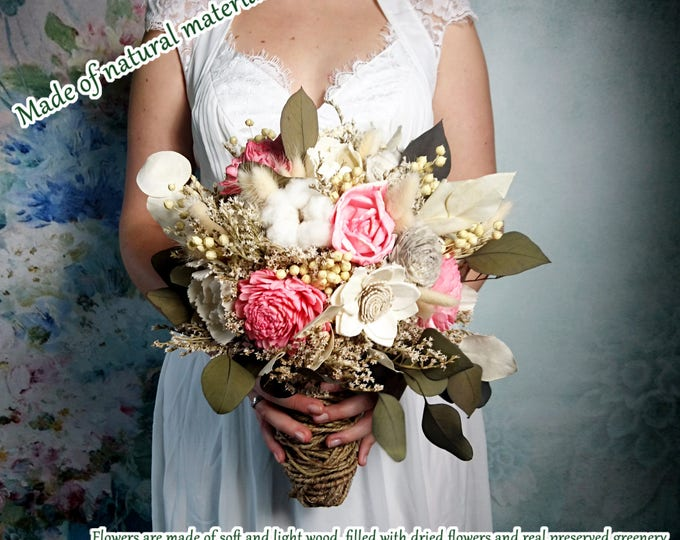 READY to SHIP Ivory pink boho rustic wedding BOUQUET greenery eucalyptus sola Flowers dried flowers, cotton bolls, natural wild bouquet