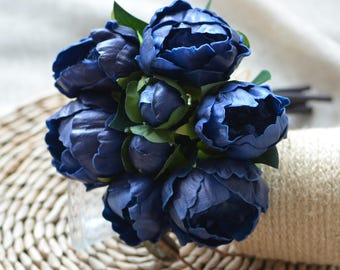 Navy Peonies Real Touch Flowers For Silk Bridal Bouquets Bridesmaids Bouquets Centerpieces