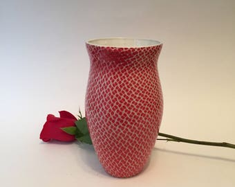 Red and White Allover Patterned Vase, Handmade Pottery, Wheel Thrown,Great Gift,Functional Pottery, Ceramic Vessel, Home Decor, Medium Vase