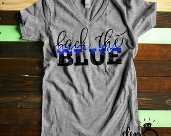 Digital File | Back The Blue SVG | Thin blue line | Police svg | Cop svg | Law Enforcement | Cut File | SVG DXF | svg files for Cricut