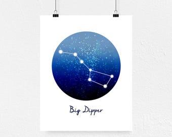 Big Dipper, Ursa Major, Constellation Print, Big Dipper Print, Big Dipper Gift, Birthday Gift, Zodiac Print, Space Art, Constellation Decor