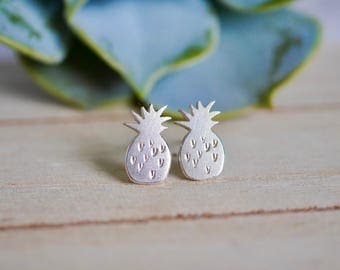 Sterling Silver Pineapple Earrings / 925 / stud earrings / gifts for her / hypoallergenic / stocking filler / fruit / tropical / holidays