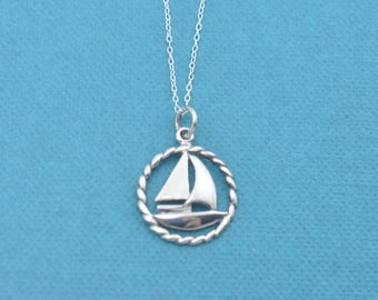 "Sailboat necklace in sterling silver on an 18"" sterling silver cable chain.  Sailboat necklace. Sailboat charm."