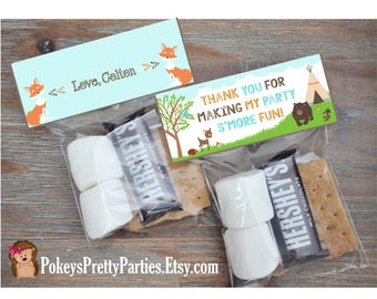 Wildlife Woodlands SMORES Bag Toppers Party Birthday Goodie Bag Tipi Teepee Fox Bear S'mores
