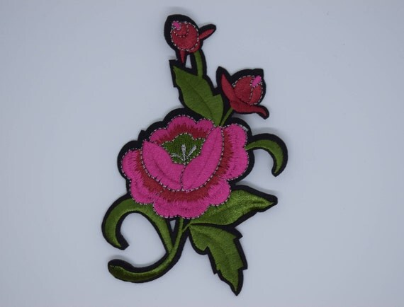 Big Pink Flower Iron on Patch