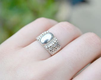Ornate Sterling Silver Dome Ring, Sterling Dome Ring, Intricate Sterling Ring, Textured Sterling Silver Ring, Tibetan Sterling Silver Ring