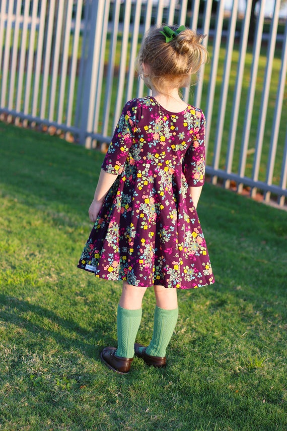 Ready to Ship Fall Floral Twirl Dress Christmas Twirly Fall Plum Green Mustard Dress Little Flowers Toddler Girl Dress Girl Twirly Dress