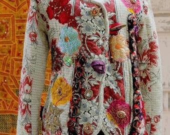 Cropped Jacket, Beaded Gold, Boho Chic Style, Printed Jacket, Colorful Ethnic, Long Sleeve Jacket , Embroidered Jacket,  Ethnic Womens Top