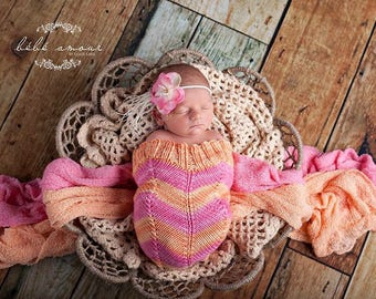 Sorbet Pink and Orange Chevron Newborn Baby Cocoon, Photography prop, Made to Order