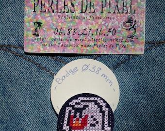 Handmade Mario Boo embroidered badge