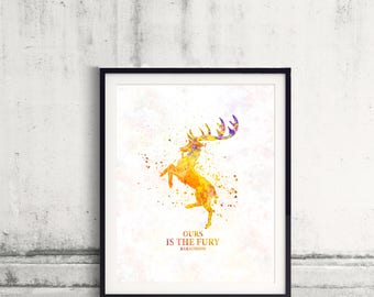 Game of thrones Baratheon Fine Art Print Glicee  Poster Watercolor Children's Illustration Wall - SKU 2783
