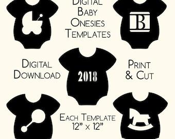 DIY Baby Onesie Digital Design Templates - Laser Cut - Stencils - Download - Print - Personal - Commercial