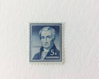 10 James Monroe 5c US postage stamps unused - Vintage 1965 - blue president