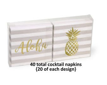 gold pineapple cocktail napkins, aloha, luau decorations, tiki bar supplies, paper coasters, beach wedding, pool party, summer birthday