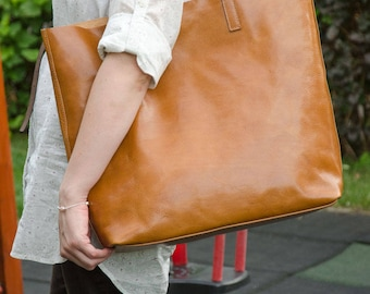 Large Camel Brown Leather Tote - LENA Handmade Leather Tote Bag