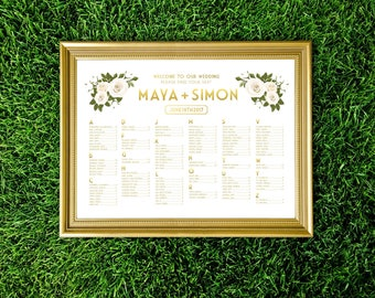 FRANKIE . Alphabetical Seating Chart Wedding Sign White & Gold Rose Eucalyptus Garland Green Leaf . PRINTED Sign Paper • Foam Board • Canvas