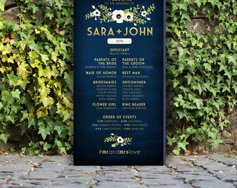 Program Wedding Tall Sign . White Cream Magnolia Anemone Poppy Garland Olive Branch Gold & Navy Chalkboard . PRINTED on Canvas or Foam Board