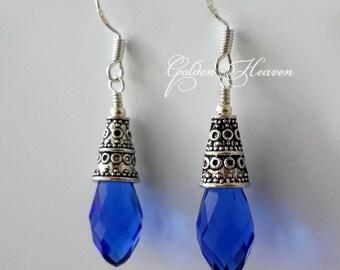 Royal Blue Earrings Blue Crystals Antique silver Earrings Tibetan silver earrings 925 sterling silver hooks Teardrop silver earrings