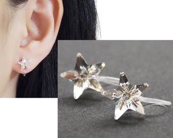 Crystal Star Swarovski Invisible Clip on Stud Earrings, Non Pierced Earrings, Bridal Swarovski Crystal Clip on Earrings, Stars Clip-ons