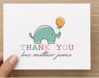 Baby shower thank you card:Personally designed unisex elephant baby shower card personalized