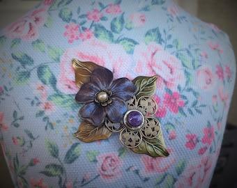 Lovely Handmade Brass Violet Brooch