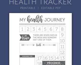 5x7 Health Journey Tracker | Health Planner | Editable PDF | Instant Download