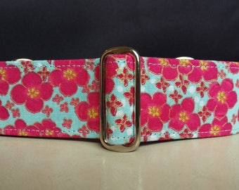 "Martingale Collar - Whippet, Greyhound, Italian Greyhound - 1"", 1.5"" and 2"" width - Cherry Blossoms"