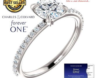 1.25 Carat Round Moissanite (Forever One) Ring in 14K Gold (with Charles & Colvard authenticity card)