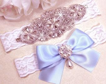 Wedding Garter Set, Bridal Garter Set, White Lace Garter, Rhinestone Crystal Garter, Grace Style 10525