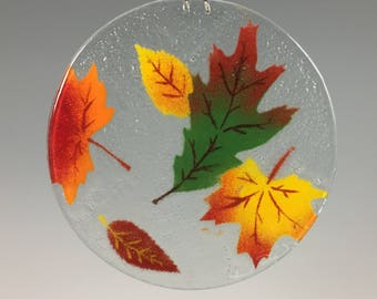 Fall Leaves, Suncatcher, Foliage, Autumn Window Hanging, Fused Glass, Sun Catcher, Oak, Maple