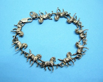 "Vintage Galloping Horses Sterling Silver 10 Horse Links 3D Signed ""MW 925"""