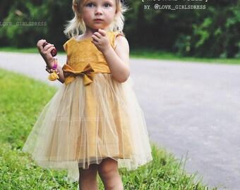 baby toddler mustard tulle dress