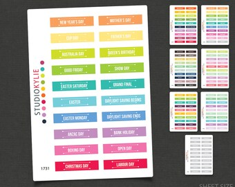 Australian Events & Public Holidays Planner Stickers - Repositionable Matte Vinyl