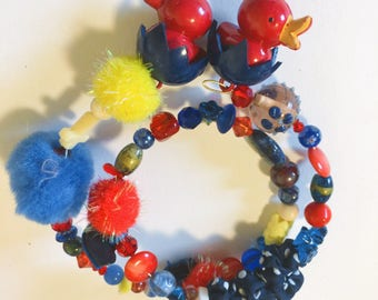 Primary Colors Repurposed Baby Bird Memory Wire Bracelet