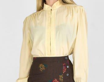 Vintage Long Bishop Sleeve Pleated Mandarin Stand Collar Rouleau Loop Button Down Yoke Shirring Satiny Creamy Yellow Blouse Small - Medium
