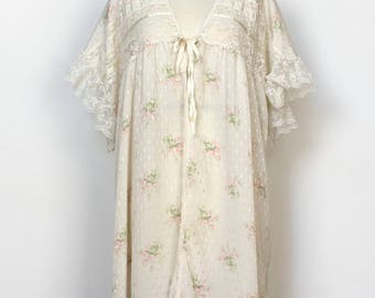 Vintage Christian Dior Peignoir Robe Floral Lace Valentines Day Intimates Lingerie Silky Sexy Luxury Designer Short Sleeve White Pink