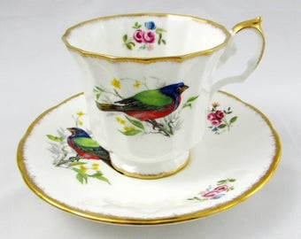 Vintage Elizabethan Tea Cup and Saucer with Colorful Birds, Fine Bone China