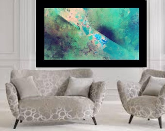 Large green original abstract painting acrylic Art blue painting blue abstract modern wall art modern art original canvas art fine art decor