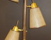 Vintage 3-Tier Wicker Cone Tension Pole Lamp