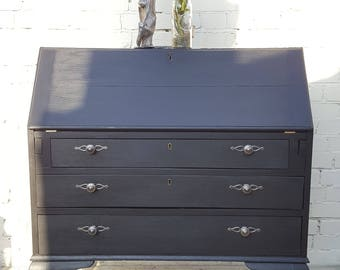 Upcycled Vintage Solid Oak Bureau Writing Desk Coal Black and Silver