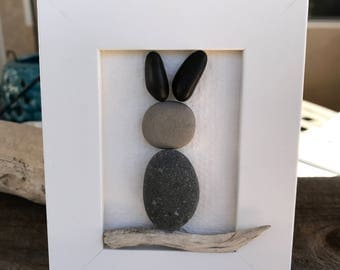 Framed Rock & Driftwood Bunny Art - Personalized