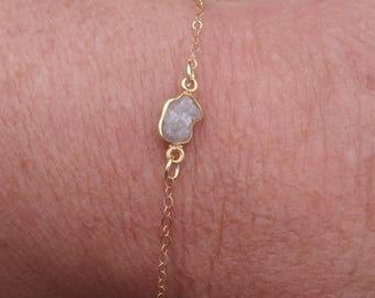 Raw Diamond Bracelet Dainty Bracelet Delicate Bracelet Gemstone Bracelet Minimalist Bracelet April Birthstone Rough Diamond Gold Bracelet