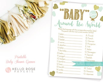 Baby Around the World . Baby in different languages . Mint and Gold Baby Shower Game . Printable Instant Download . Boy or Girl Shower Games