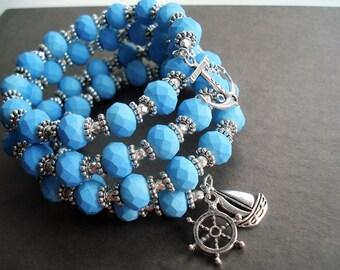 Blue Bracelet Nautical Jewelry Wrap Bracelet Statement Jewelry Memory Wire Bracelet Blue Jewelry Boho Bracelet Beach Jewelry Charm Bracelet