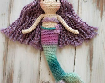 Mermaid doll, Crocheted Mermaid Doll, Mini Mermaid Doll, Amigurumi Crocheted Doll, Amigurumi Mermaid