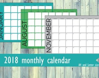 Printable monthly calendar for 2018. Colorful calendar. Black and white calendar. A4 size, Letter size, A5 size. Week start Monday or Sunday