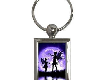 Purple Fairy -- Rectangle Key Chain