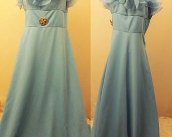 60s  Blue Crepe Sleeveless Evening Gown Size 6
