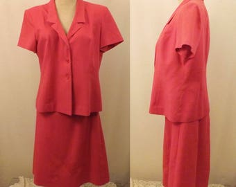 70's Vintage Collegian Pink Knit Dress Suit Size 6 / 8