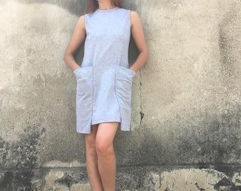 Short Dress, Minimalist Dress, Jersey Dress, Beach Tunic, Sleeveless Tunic, Gray Dress, Oversized Tunic Dress, Extravagant Tunic, Wide Top